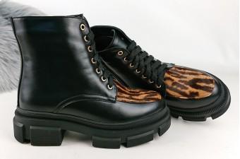 2102N Ботинки кожаные женские на тракторной подошве